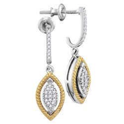 1/8 CTW Round Diamond Rope Oval Dangle Earrings 10kt Two-tone Gold - REF-18R3H