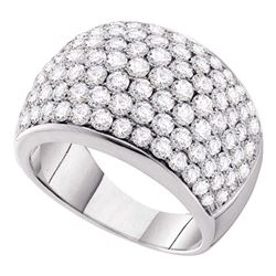 3 CTW Round Pave-set Diamond Cocktail Ring 14kt White Gold - REF-239W9F