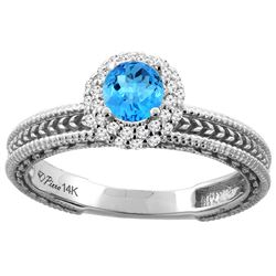 0.67 CTW Swiss Blue Topaz & Diamond Ring 14K White Gold - REF-53N3Y