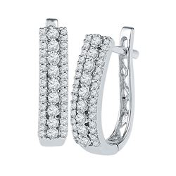 3/8 CTW Round Diamond Triple Row Hoop Earrings 10kt White Gold - REF-30R3H