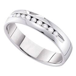 1/2 CTW Mens Round Diamond Single-row Channel-set Wedding Ring 14kt White Gold - REF-65N9Y
