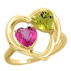 2.61 CTW Diamond, Pink Topaz & Lemon Quartz Ring 14K Yellow Gold - REF-33K5W