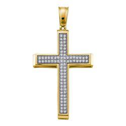 1/4 CTW Round Diamond Cross Religious Pendant 10kt Yellow Gold - REF-21Y5X