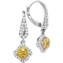 3/4 CTW Round Yellow Diamond Diagonal Square Cluster Dangle Earrings 14kt White Gold - REF-71R9H