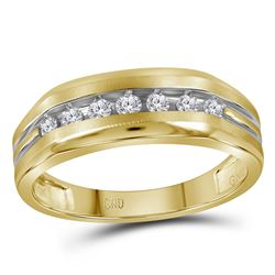 1/4 CTW Mens Round Diamond Grooved Wedding Ring 14kt Two-tone Yellow Gold - REF-31W5F