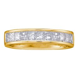 1 CTW Princess Diamond Wedding Channel Set Ring 14kt Yellow Gold - REF-91Y2X