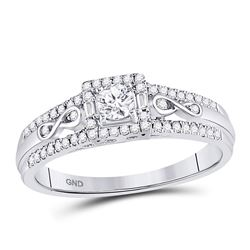 1/3 CTW Round Diamond Solitaire Bridal Wedding Engagement Ring 14kt White Gold - REF-35K9R