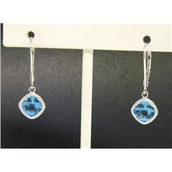 18k White Gold Cushion Cut Blue Topaz Bezel Milgrain Dangle Drop Earrings