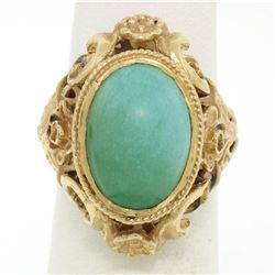 14k Yellow Gold Etched Open Work Bezel Set Oval Cabochon Persian Turquoise Solit