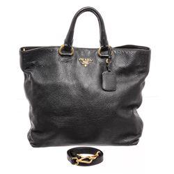 Prada Black Vitello Daino Leather Satchel Shoulder Bag