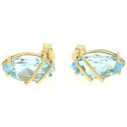 14k Yellow Gold 2.00 ctw Semi Caged Marquise Cut Blue Topaz Stud Earrings