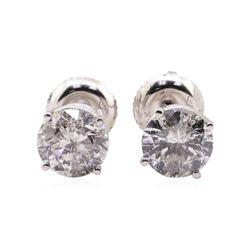 2.04 ctw Diamond Stud Earrings - 14KT White Gold