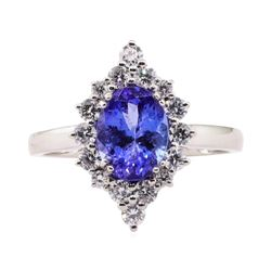 1.75 ctw Tanzanite and Diamond Ring - Platinum