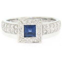 New Platinum Sapphire and Diamond Engagement Ring