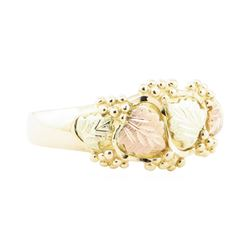 Black Hills Gold Motif Ring - 10KT Yellow, Pink, and Green Gold