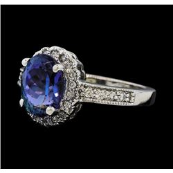 2.65 ctw Tanzanite and Diamond Ring - 14KT White Gold