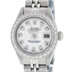 Rolex Ladies Stainless Steel White Diamond 26MM Datejust Wristwatch