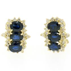 14k Yellow Gold 2.80 ctw Oval Sapphire Round Diamond Cluster Omega Back Earrings