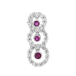 14k White Gold 0.42CTW Ruby and Diamond Pendant, (I1-I2/H-I)