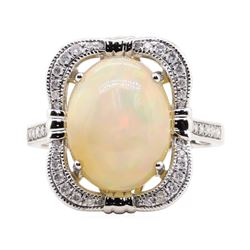 3.81 ctw Opal and Diamond Ring - 14KT White Gold