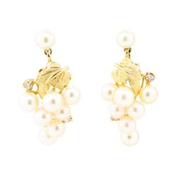 0.10 ctw Diamond and Pearl Grape Cluster Earrings - 14KT Yellow Gold