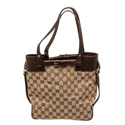 Gucci Brown GG Canvas Leather Small Tote Bag