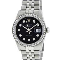Rolex Mens Stainless Steel Black Diamond 36MM Datejust Wristwatch