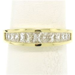 Honora 18K Gold 1.25 ctw Channel Elongated Princess Diamond Graduated Band Ring