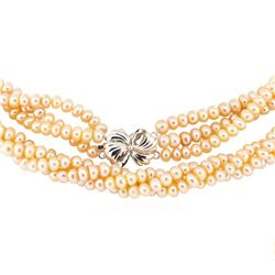 Freshwater Pearl Three-Strand Necklace - 18KT White Gold