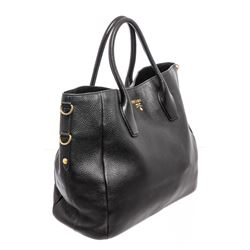 Prada Black Leather Two-Way Large Shoulder Bag