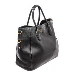 Prada Black Leather Two-Way Large Shoulder Bag