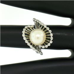 Vintage 14K White Gold 8.5mm Pearl Bezel Diamond 2 Wave Bypass Cocktail Ring