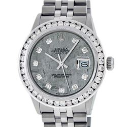 Rolex Mens Stainless Steel Meteorite 3 ctw Diamond Datejus 36MM Wristwatch With