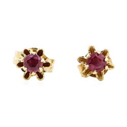 0.20 ctw Ruby Floral Basket Earrings - 10KT Yellow Gold