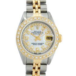 Rolex Ladies 2 Tone 18K Gold Diamond Bezel MOP String Datejust Wristwatch
