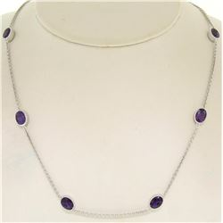 "14k White Gold 8 ctw 8 Station Amethyst by the Yard 20"" Cable Link Chain Necklac"