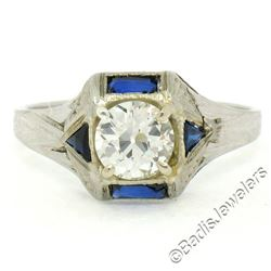 Antique Art Deco 18kt White Gold 0.65 ctw European Diamond and Sapphire Ring