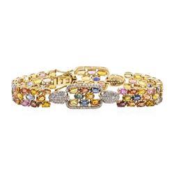 24.98 ctw Sapphire and Diamond Bracelet - 14KT Yellow Gold