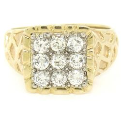 Mens 14K Two Tone Gold Nugget Design .90 ctw Round BRILLIANT Diamond Cluster Rin