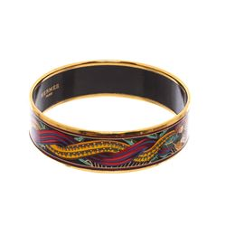 Hermes Multicolor Gold-Plated Printed Enamel Wide Bangle