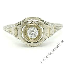 Antique Art Deco 18kt White Gold 0.35 ctw European Diamond Solitaire Filigree En