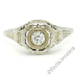 Antique Art Deco 18kt White Gold 0.35 ctw European Diamond Solitaire Filigree En