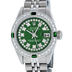 Rolex Ladies Stainless Steel Green Emerald & Diamond Datejust Wristwatch