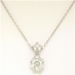 NEW 14k White Gold .45 ctw F VS2 Round Diamond Illusion Solitaire Pendant & Chai