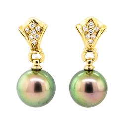 0.15 ctw Diamond and Pearl Earrings - 18KT Yellow Gold