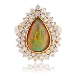 3.34 ctw Opal and 1.82 ctw Diamond 14K Yellow Gold Ring