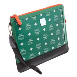 MCM Green Multicolor Visetos Nylon Resnick IPad Case