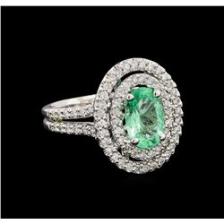 1.50 ctw Emerald and Diamond Ring - 14KT White Gold