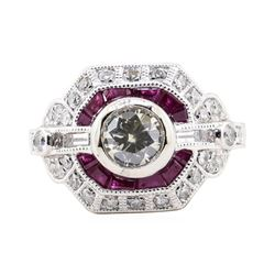 2.24 ctw Diamond and Ruby Ring - Platinum