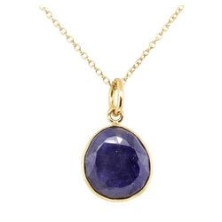 Faceted Sapphire Slice Pendant with Chain - 14KT Yellow Gold